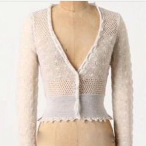 KNITTED & KNOTTED wispy pointelle cardigan S M